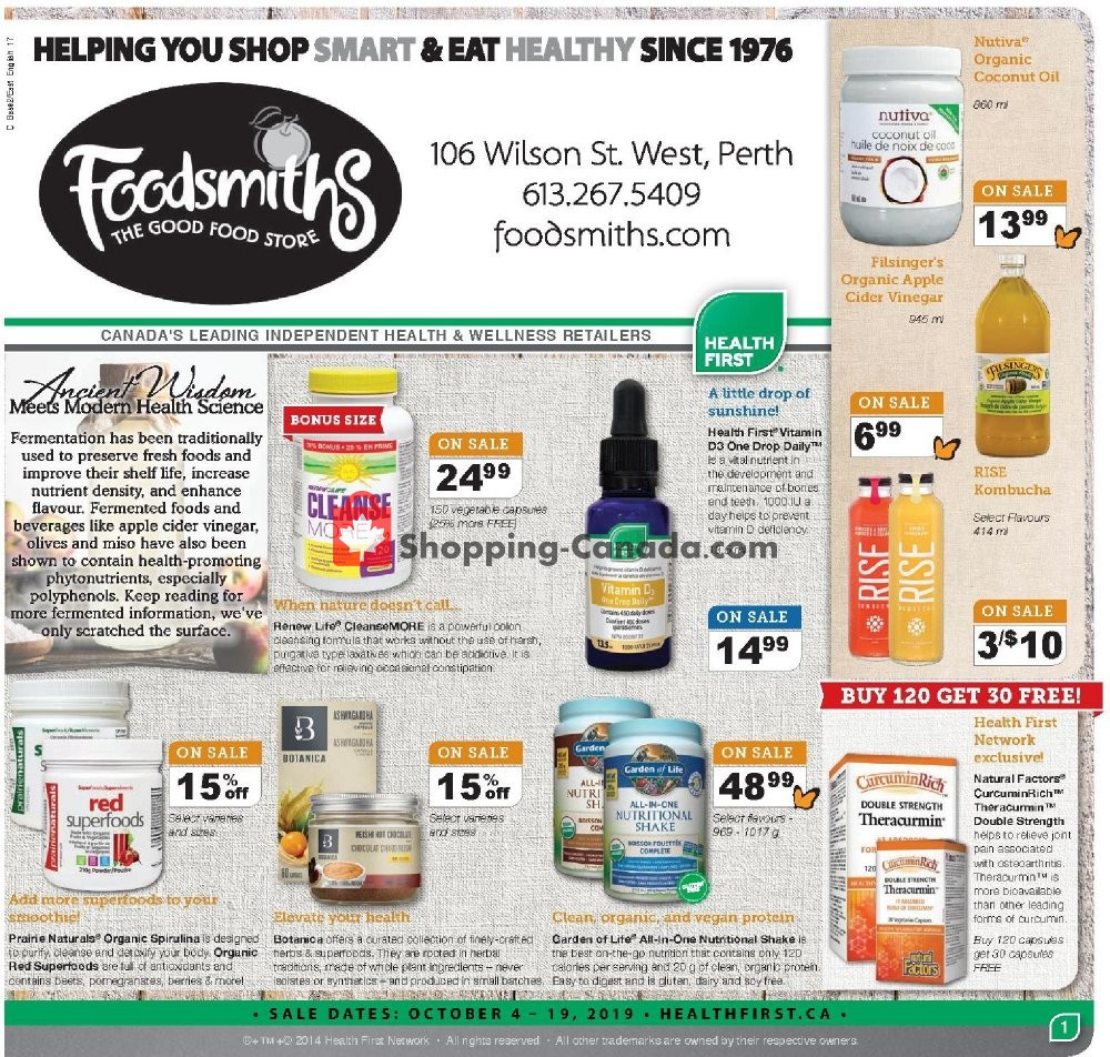 Flyer Foodsmiths Canada - from Thursday October 3, 2019 to Saturday October 19, 2019