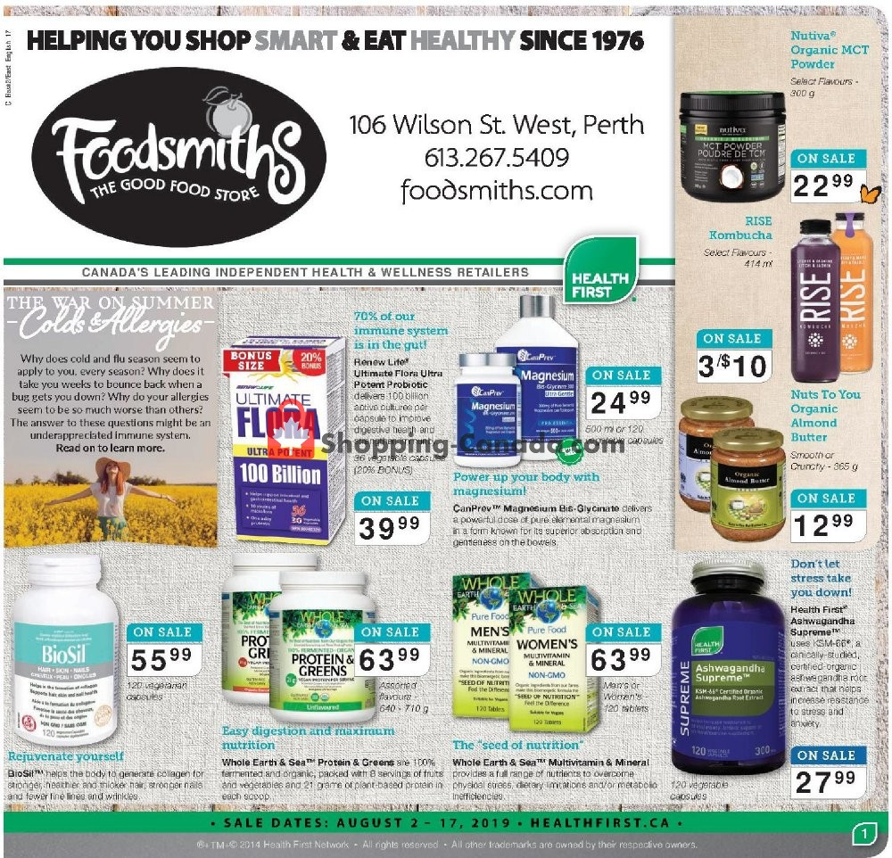 Flyer Foodsmiths Canada - from Friday August 2, 2019 to Saturday August 17, 2019