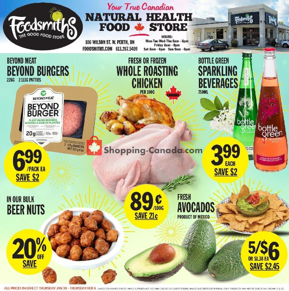 Flyer Foodsmiths Canada - from Thursday January 30, 2020 to Thursday February 6, 2020