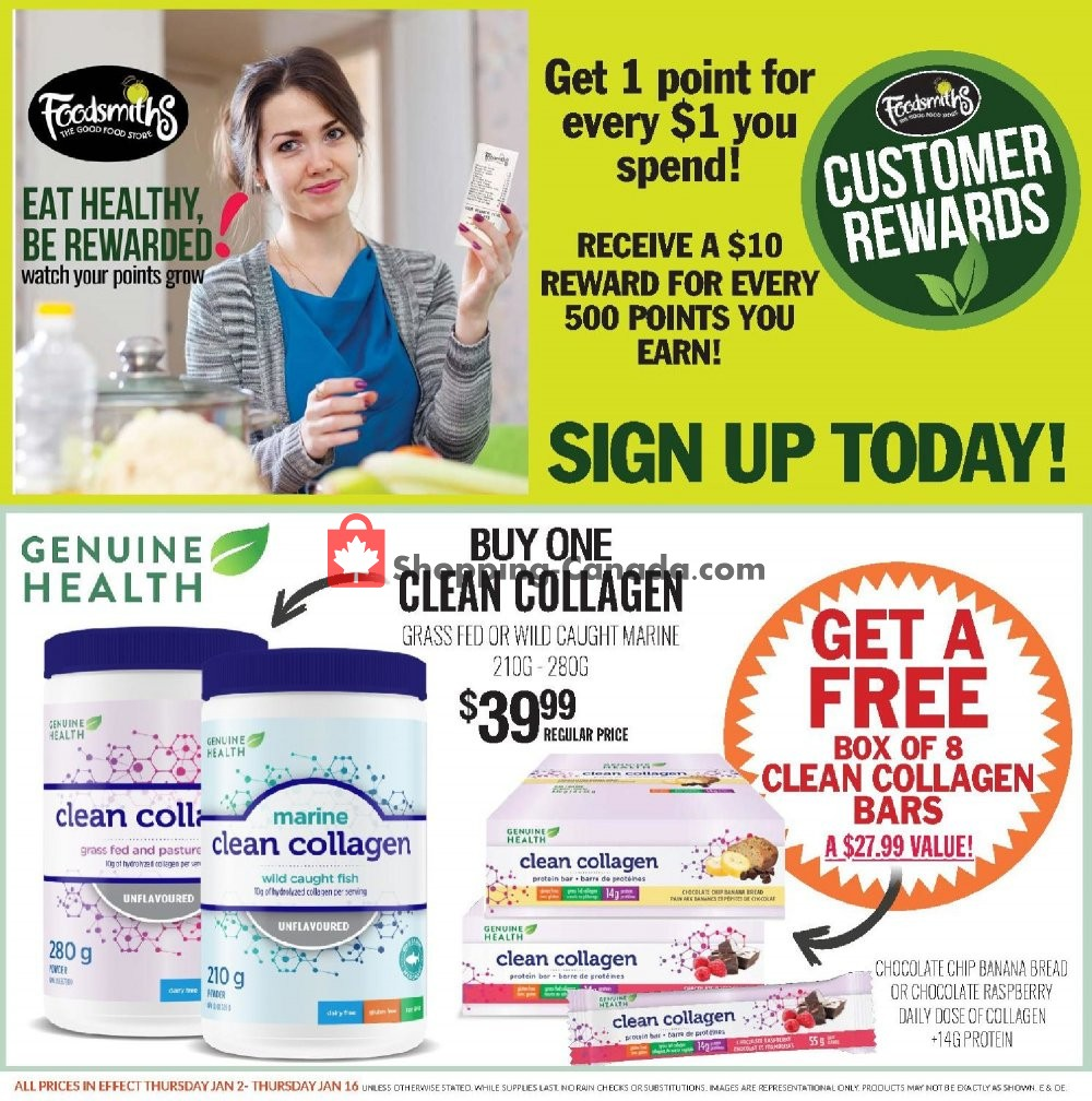 Flyer Foodsmiths Canada - from Thursday January 9, 2020 to Thursday January 16, 2020