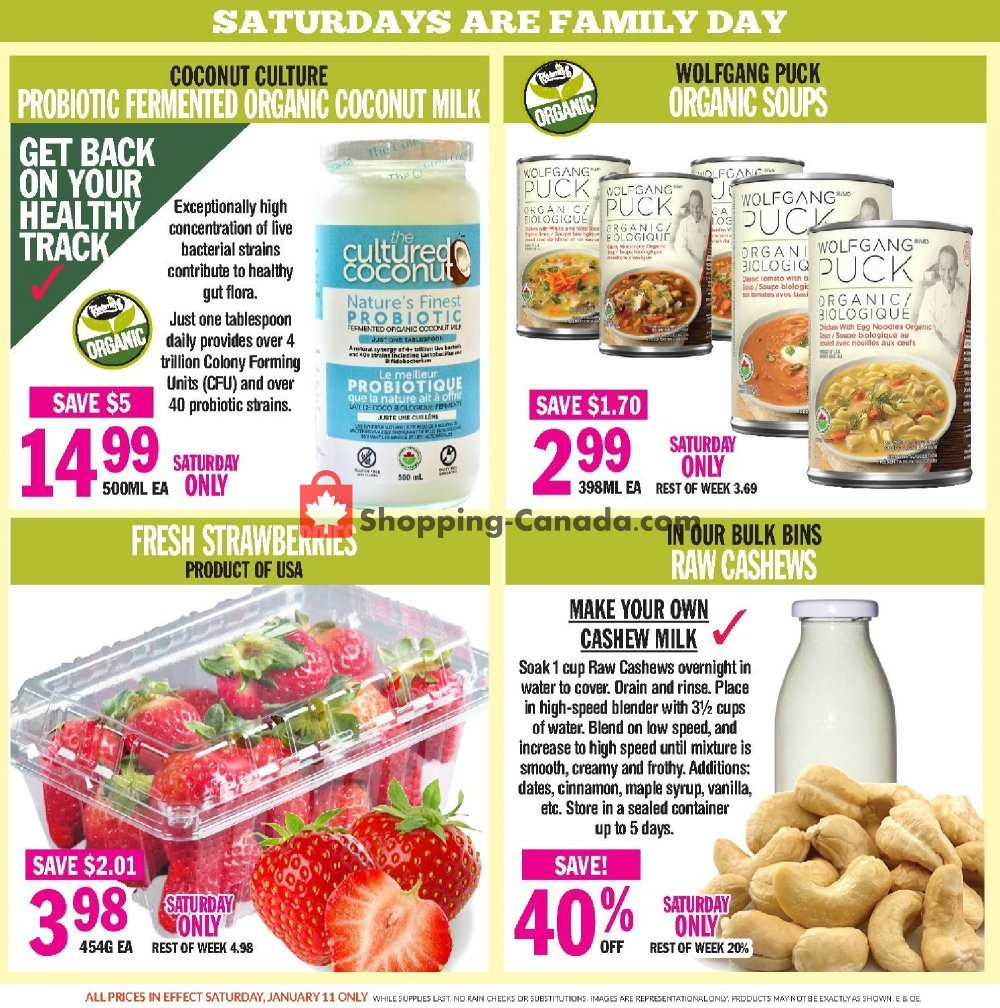 Flyer Foodsmiths Canada - from Thursday January 9, 2020 to Thursday January 16, 2020
