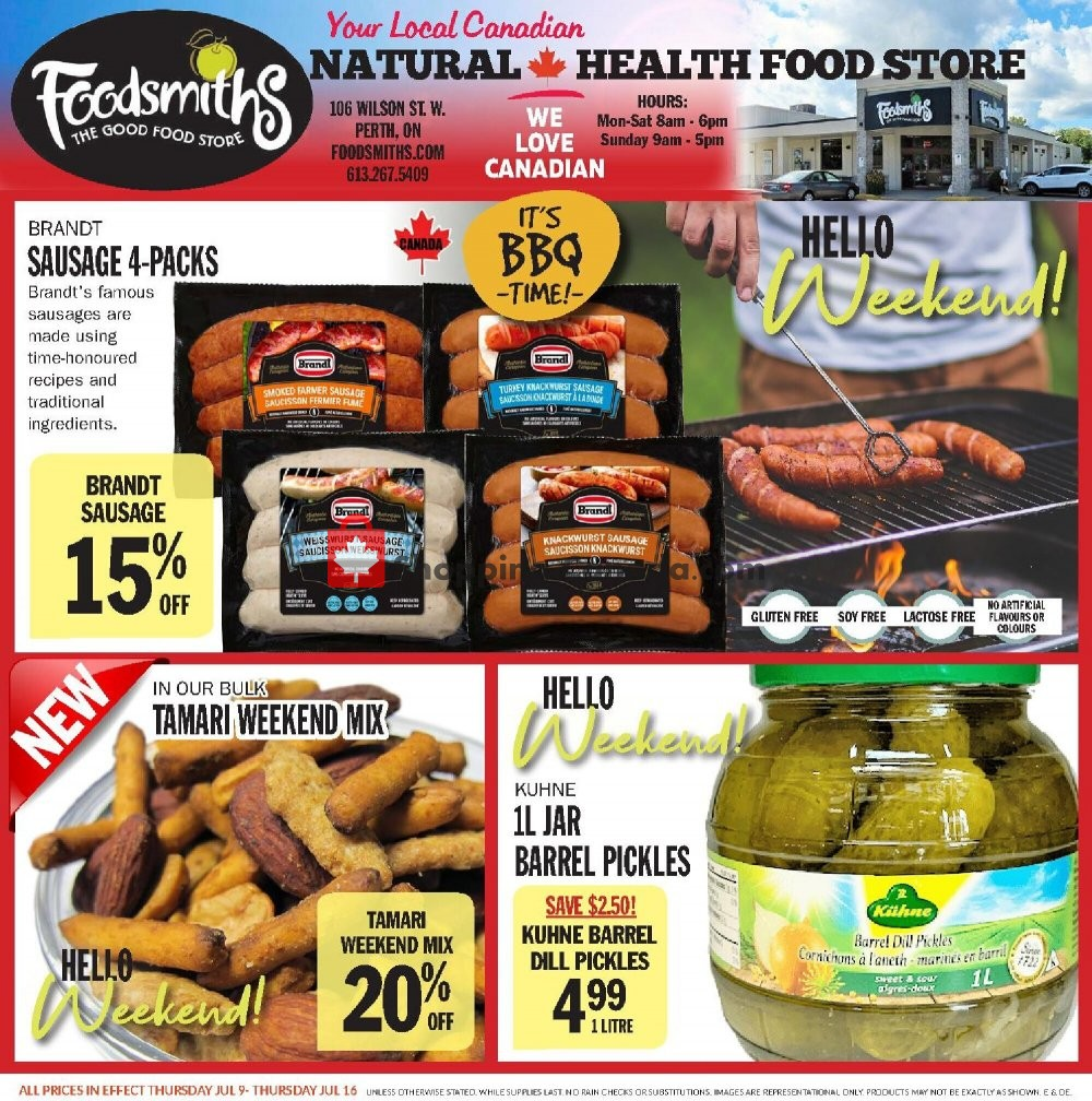 Flyer Foodsmiths Canada - from Thursday July 9, 2020 to Thursday July 16, 2020