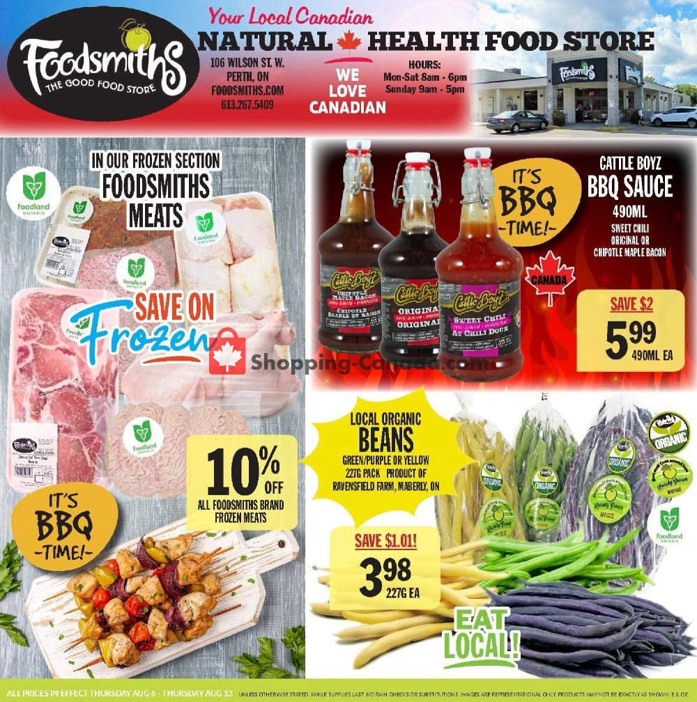 Flyer Foodsmiths Canada - from Thursday August 6, 2020 to Thursday August 13, 2020