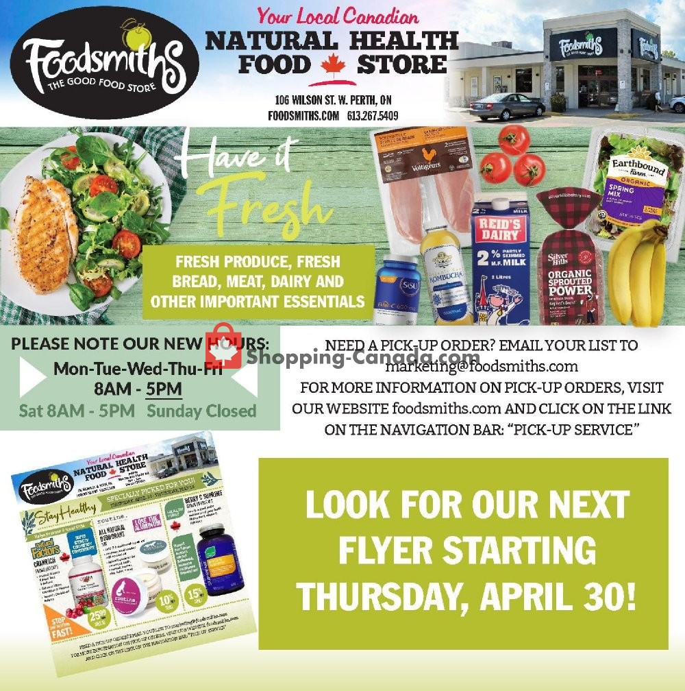 Flyer Foodsmiths Canada - from Friday April 24, 2020 to Thursday April 30, 2020