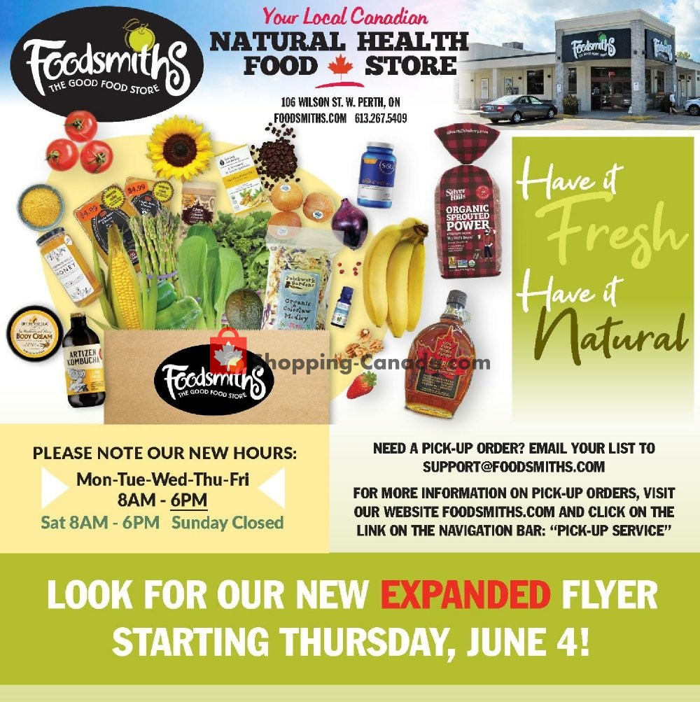 Flyer Foodsmiths Canada - from Friday May 29, 2020 to Wednesday June 3, 2020