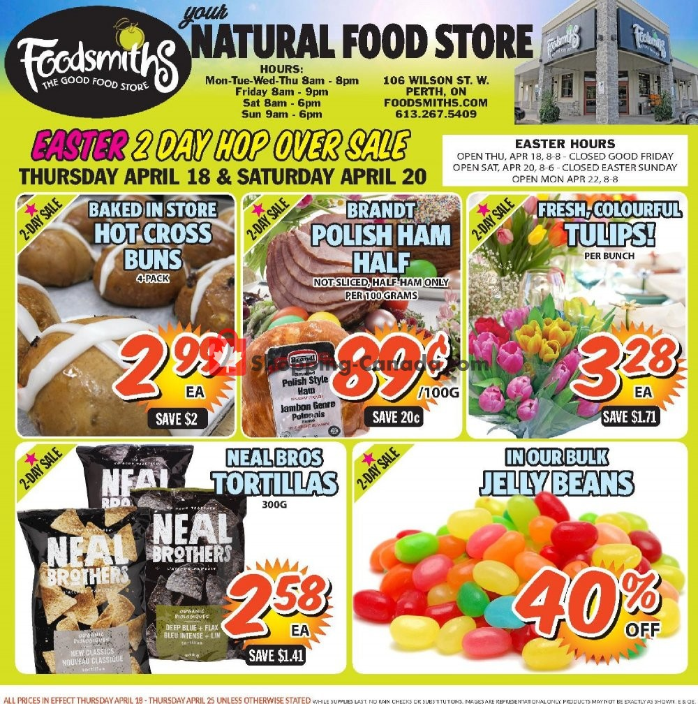 Flyer Foodsmiths Canada - from Thursday April 18, 2019 to Thursday April 25, 2019