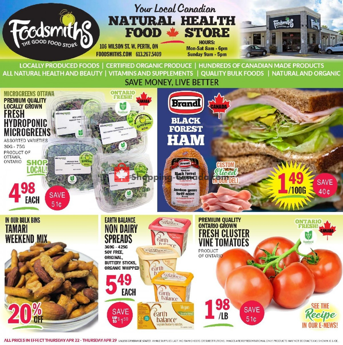 Flyer Foodsmiths Canada - from Thursday April 22, 2021 to Thursday April 29, 2021