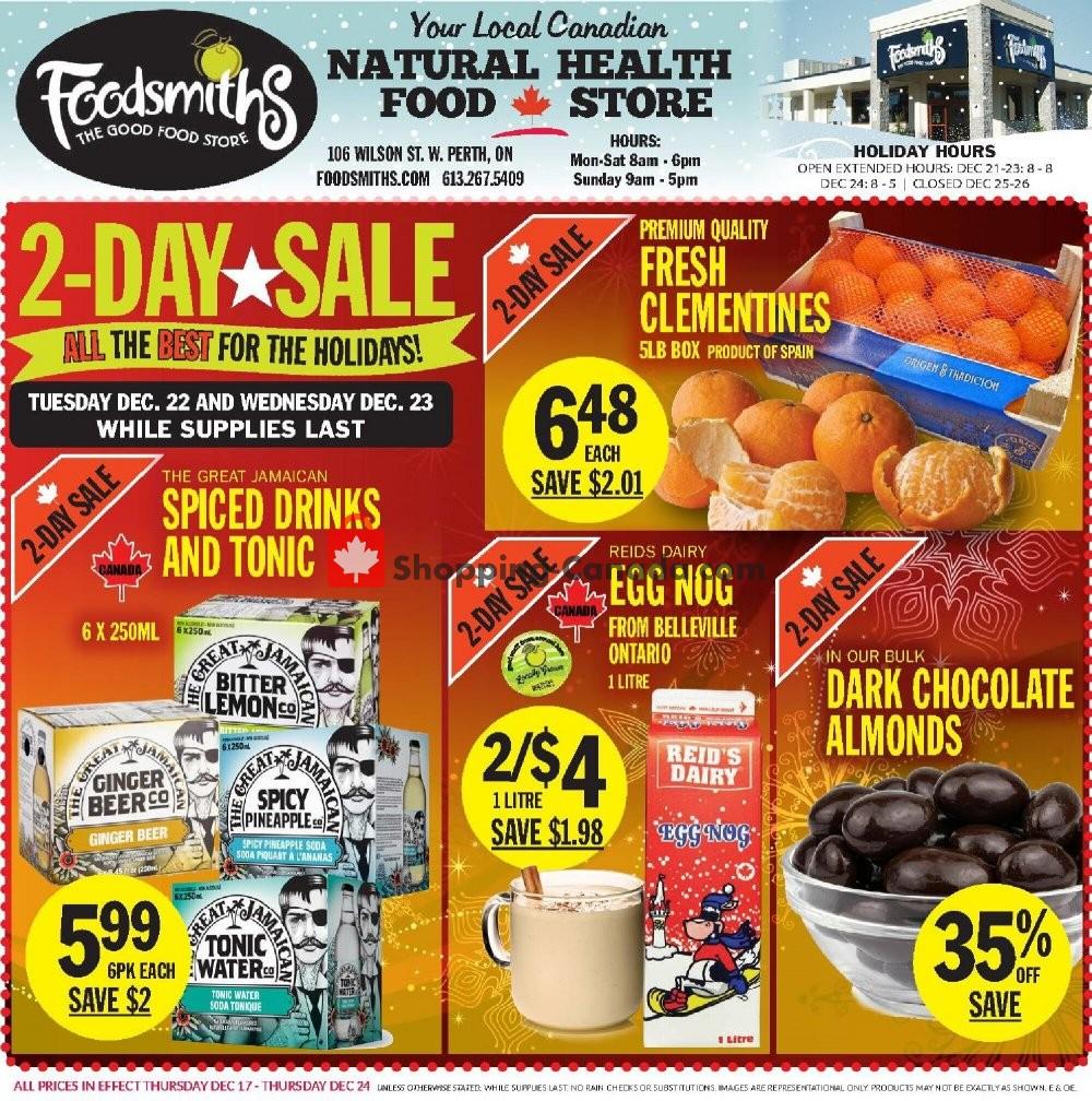Flyer Foodsmiths Canada - from Thursday December 17, 2020 to Thursday December 24, 2020