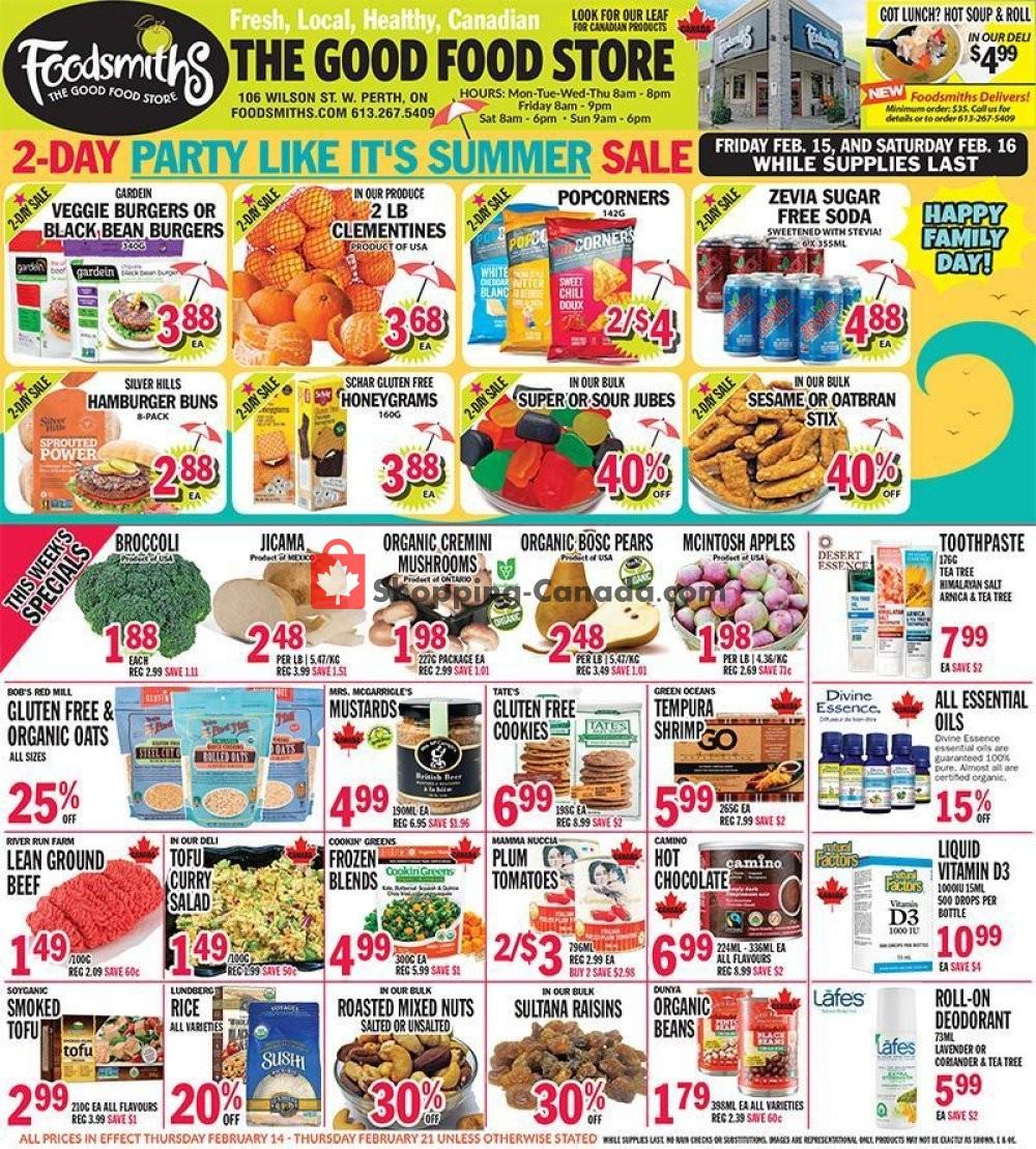 Flyer Foodsmiths Canada - from Thursday February 14, 2019 to Thursday February 21, 2019