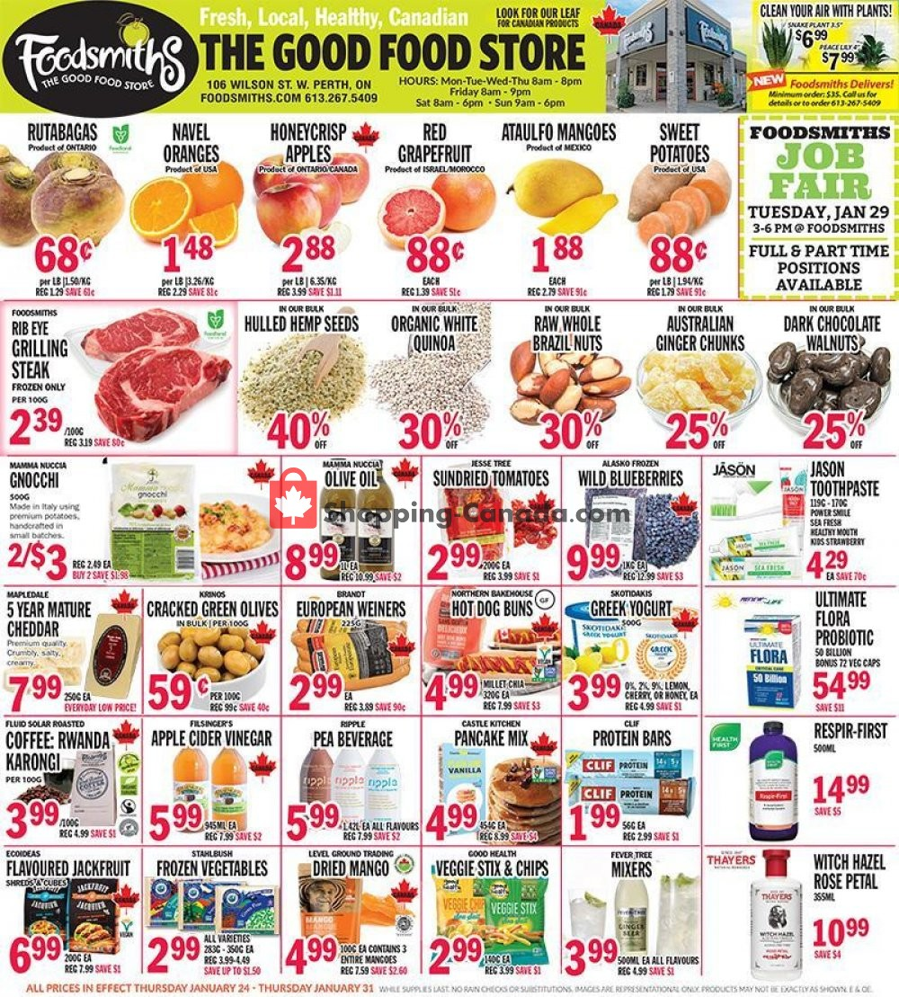 Flyer Foodsmiths Canada - from Thursday January 24, 2019 to Thursday January 31, 2019