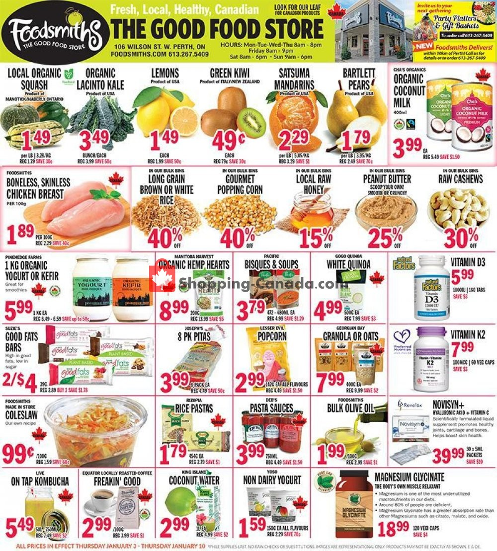 Flyer Foodsmiths Canada - from Thursday January 3, 2019 to Thursday January 10, 2019