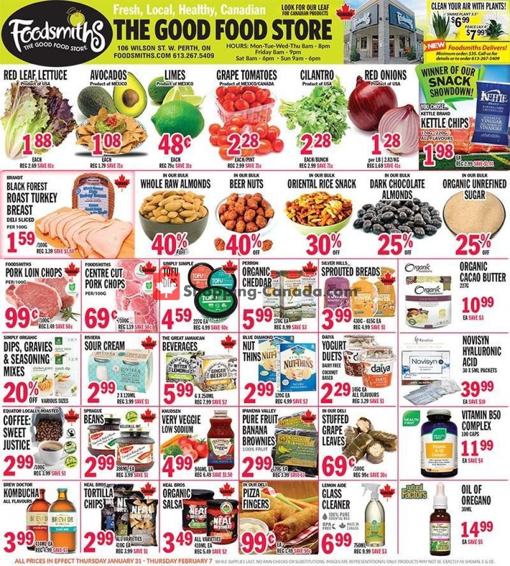 Flyer Foodsmiths Canada - from Thursday January 31, 2019 to Thursday February 7, 2019