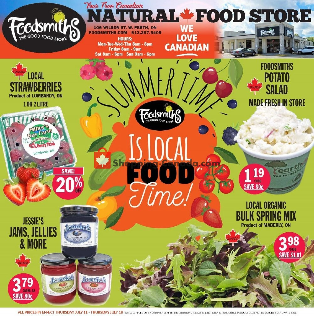 Flyer Foodsmiths Canada - from Thursday July 11, 2019 to Thursday July 18, 2019