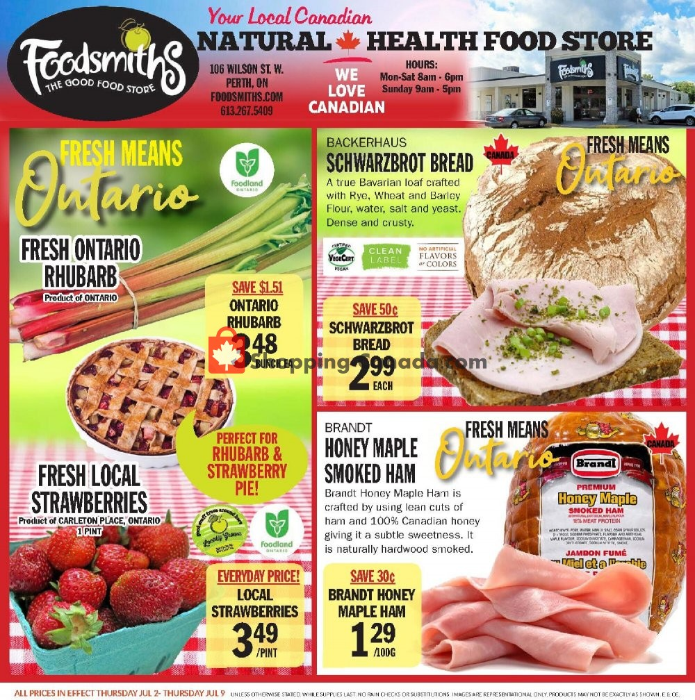 Flyer Foodsmiths Canada - from Thursday July 2, 2020 to Thursday July 9, 2020