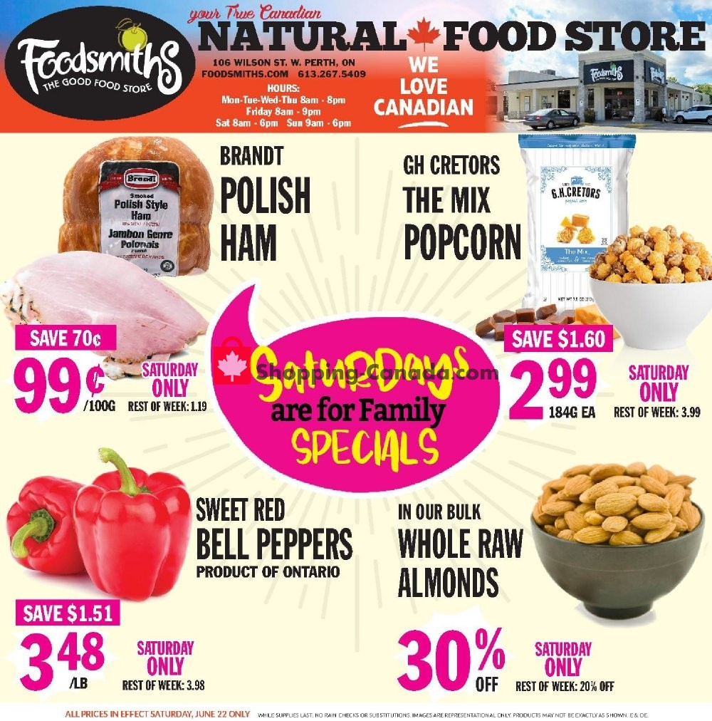 Flyer Foodsmiths Canada - from Thursday June 20, 2019 to Thursday June 27, 2019