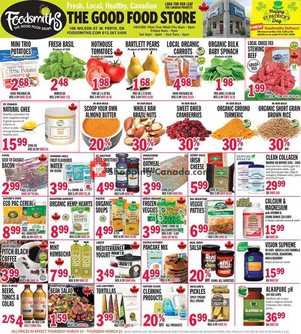 Flyer Foodsmiths Canada - from Thursday March 14, 2019 to Thursday March 21, 2019