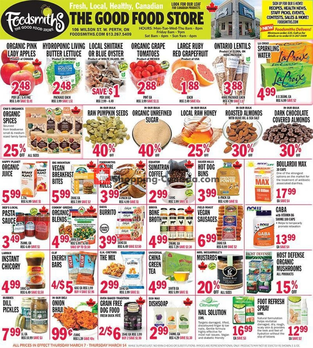 Flyer Foodsmiths Canada - from Thursday March 7, 2019 to Thursday March 14, 2019