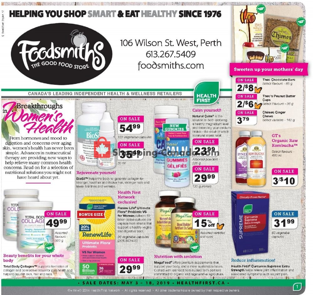 Flyer Foodsmiths Canada - from Friday May 3, 2019 to Saturday May 18, 2019