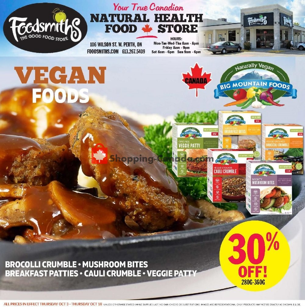 Flyer Foodsmiths Canada - from Thursday October 3, 2019 to Thursday October 10, 2019