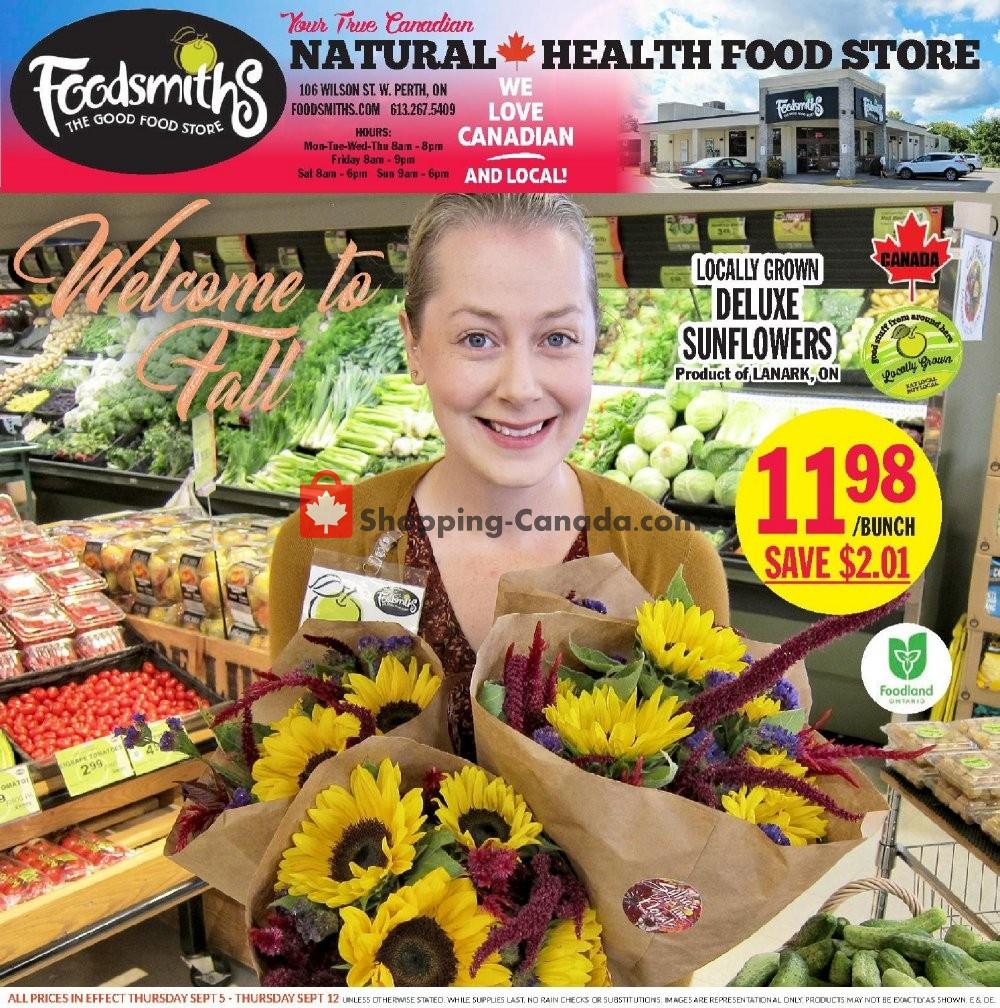 Flyer Foodsmiths Canada - from Thursday September 5, 2019 to Thursday September 12, 2019