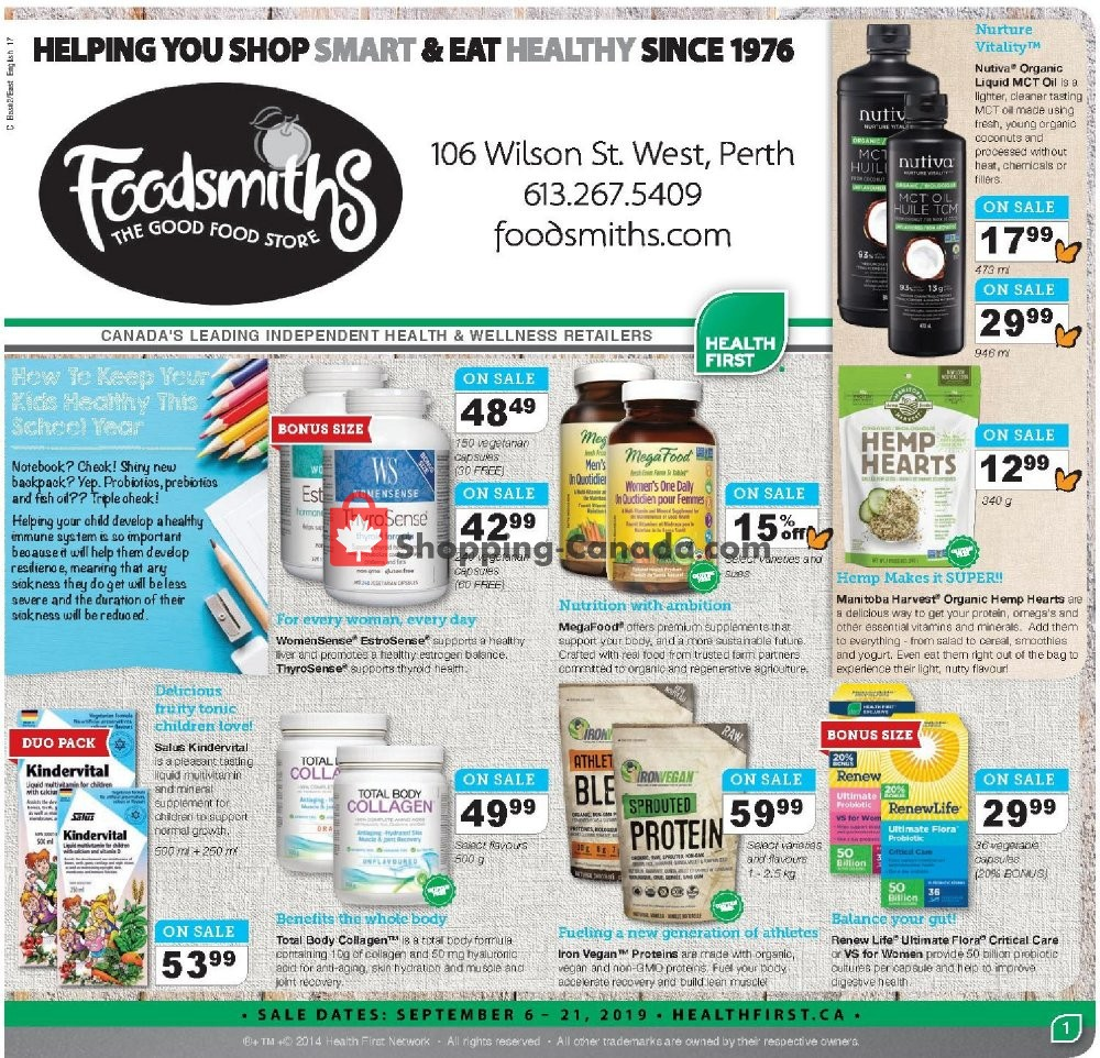 Flyer Foodsmiths Canada - from Thursday September 5, 2019 to Saturday September 21, 2019