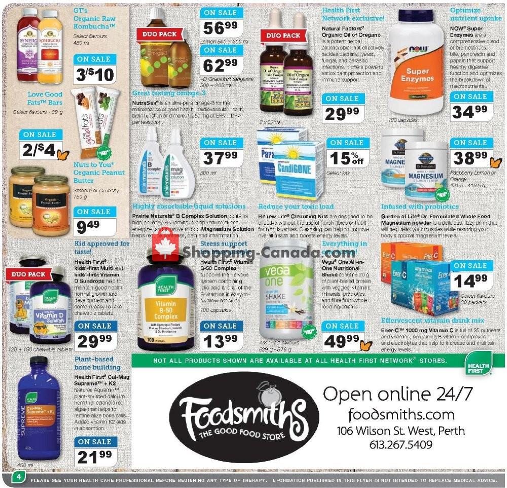 Flyer Foodsmiths Canada - from Thursday September 5, 2019 to Saturday September 21, 2019