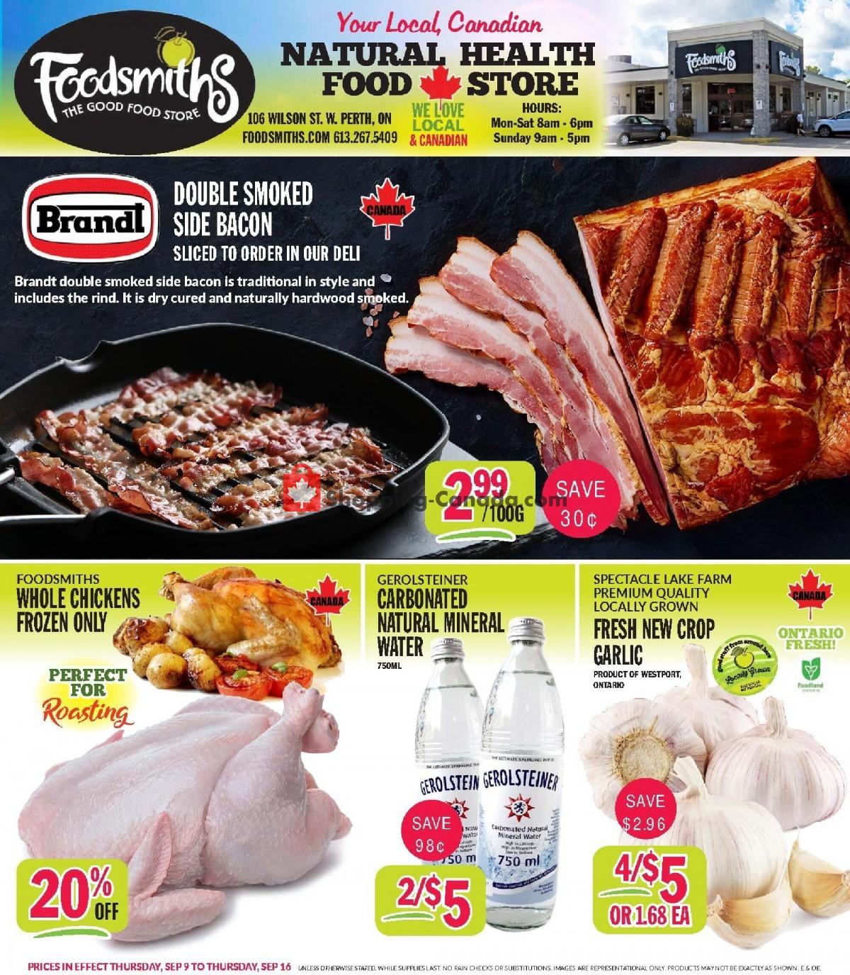 Flyer Foodsmiths Canada - from Thursday September 9, 2021 to Thursday September 16, 2021