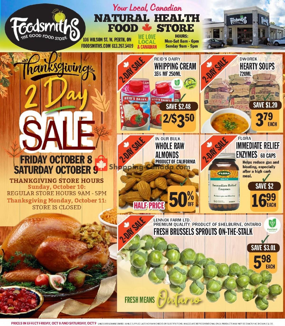 Flyer Foodsmiths Canada - from Thursday October 7, 2021 to Thursday October 14, 2021