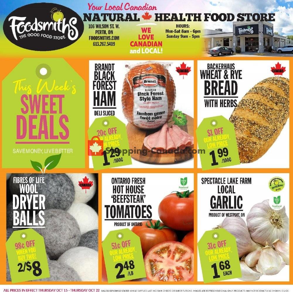 Flyer Foodsmiths Canada - from Thursday October 15, 2020 to Thursday October 22, 2020
