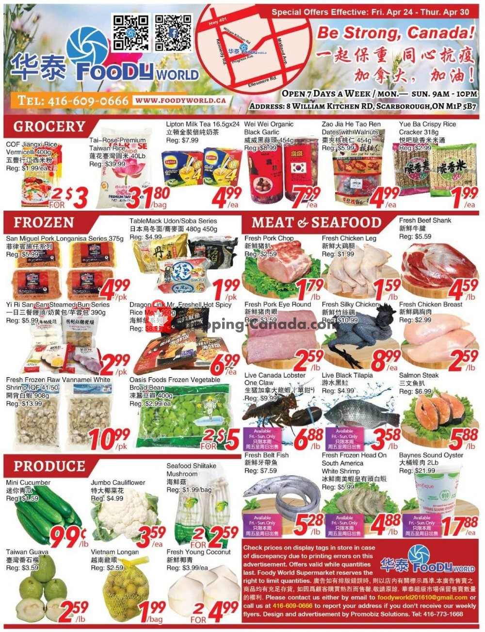 Flyer Foody World Canada - from Friday April 24, 2020 to Thursday April 30, 2020