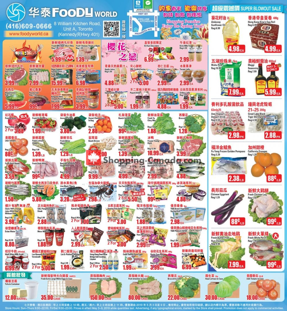 Flyer Foody World Canada - from Friday May 3, 2019 to Thursday May 9, 2019