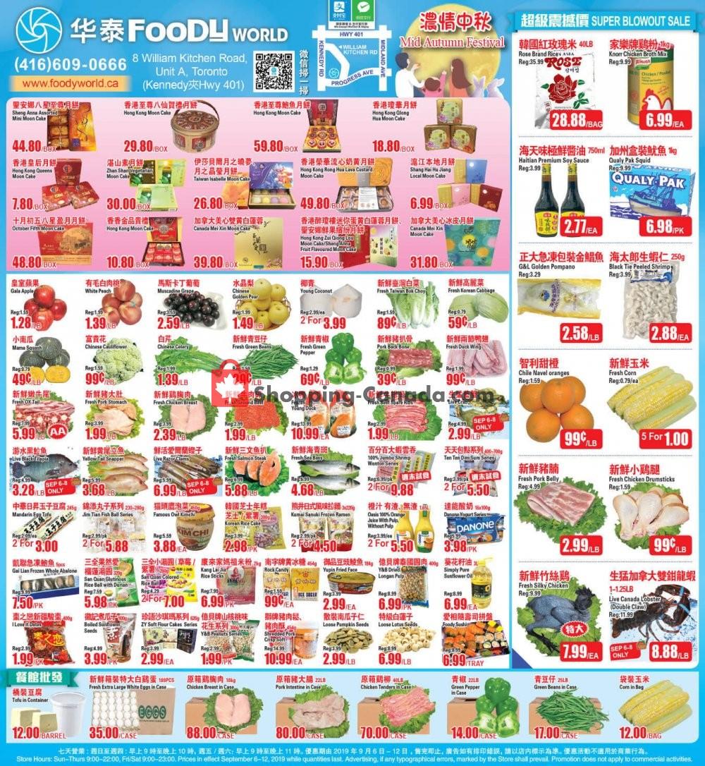Flyer Foody World Canada - from Friday September 6, 2019 to Thursday September 12, 2019
