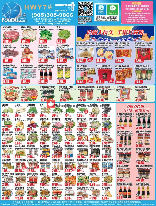 Flyer Foodymart Canada - from Friday September 6, 2019 to Thursday September 12, 2019