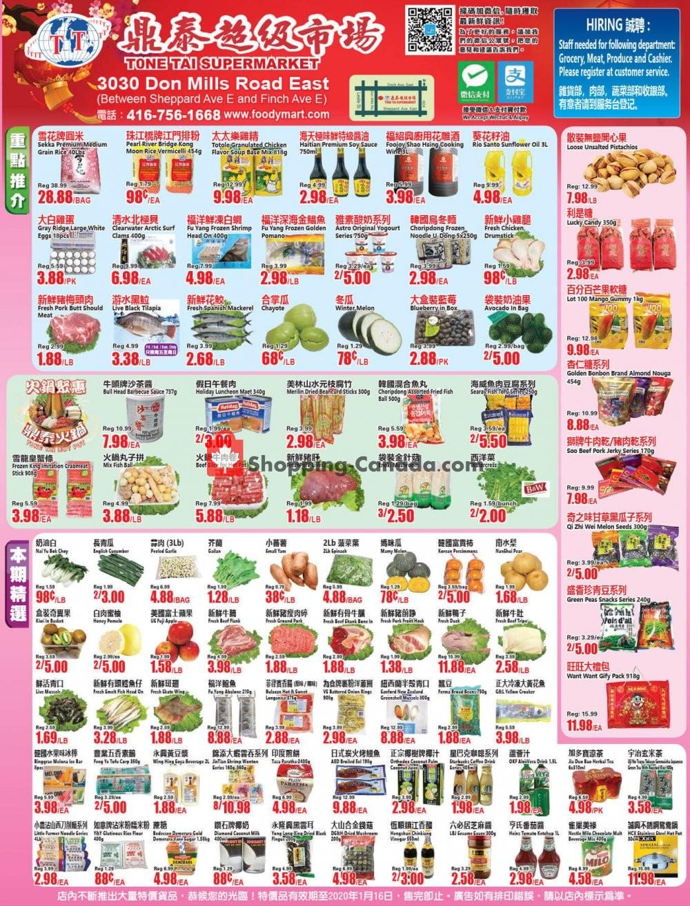 Flyer Foodymart Canada - from Friday January 10, 2020 to Thursday January 16, 2020