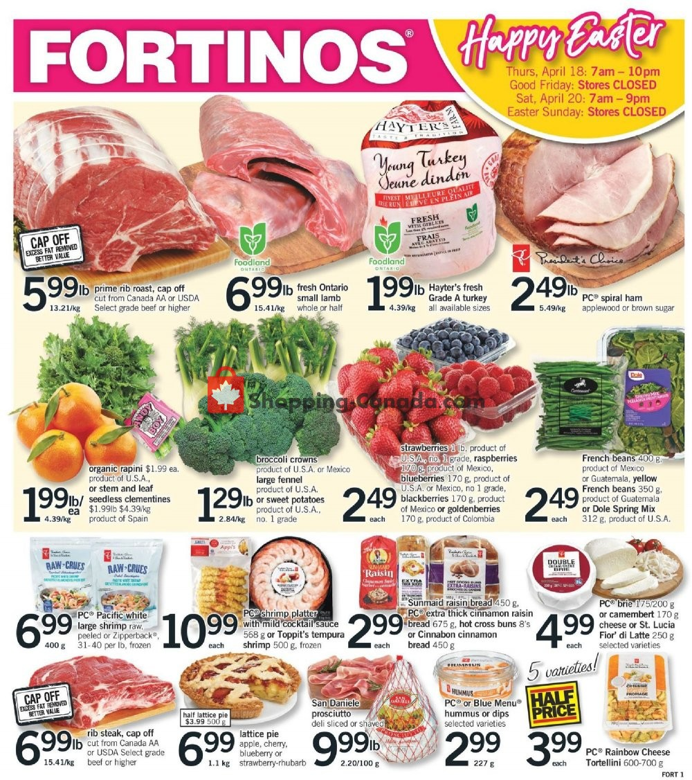 Flyer Fortinos Canada - from Thursday April 18, 2019 to Saturday April 20, 2019