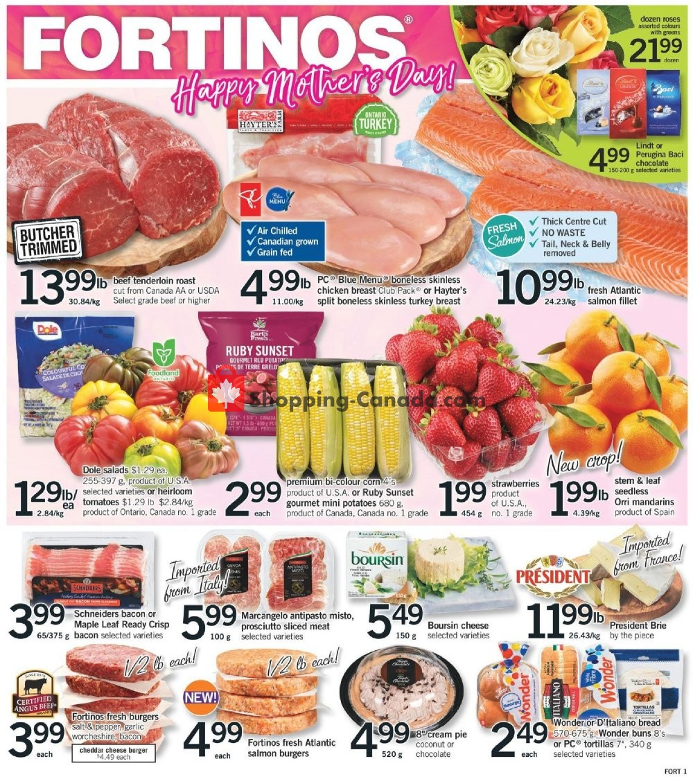 Flyer Fortinos Canada - from Thursday May 9, 2019 to Wednesday May 15, 2019