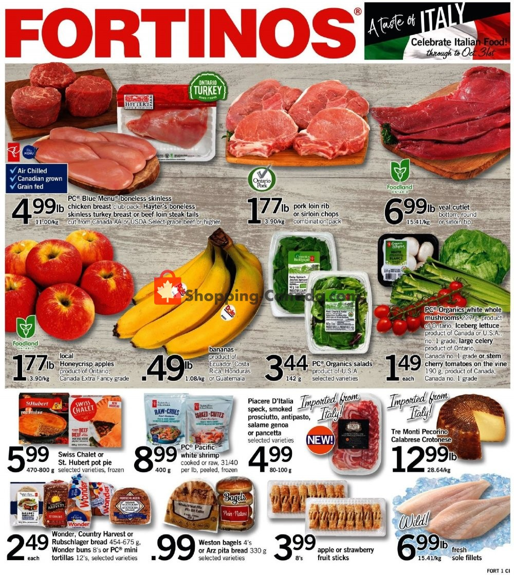 Flyer Fortinos Canada - from Thursday October 11, 2018 to Wednesday October 17, 2018