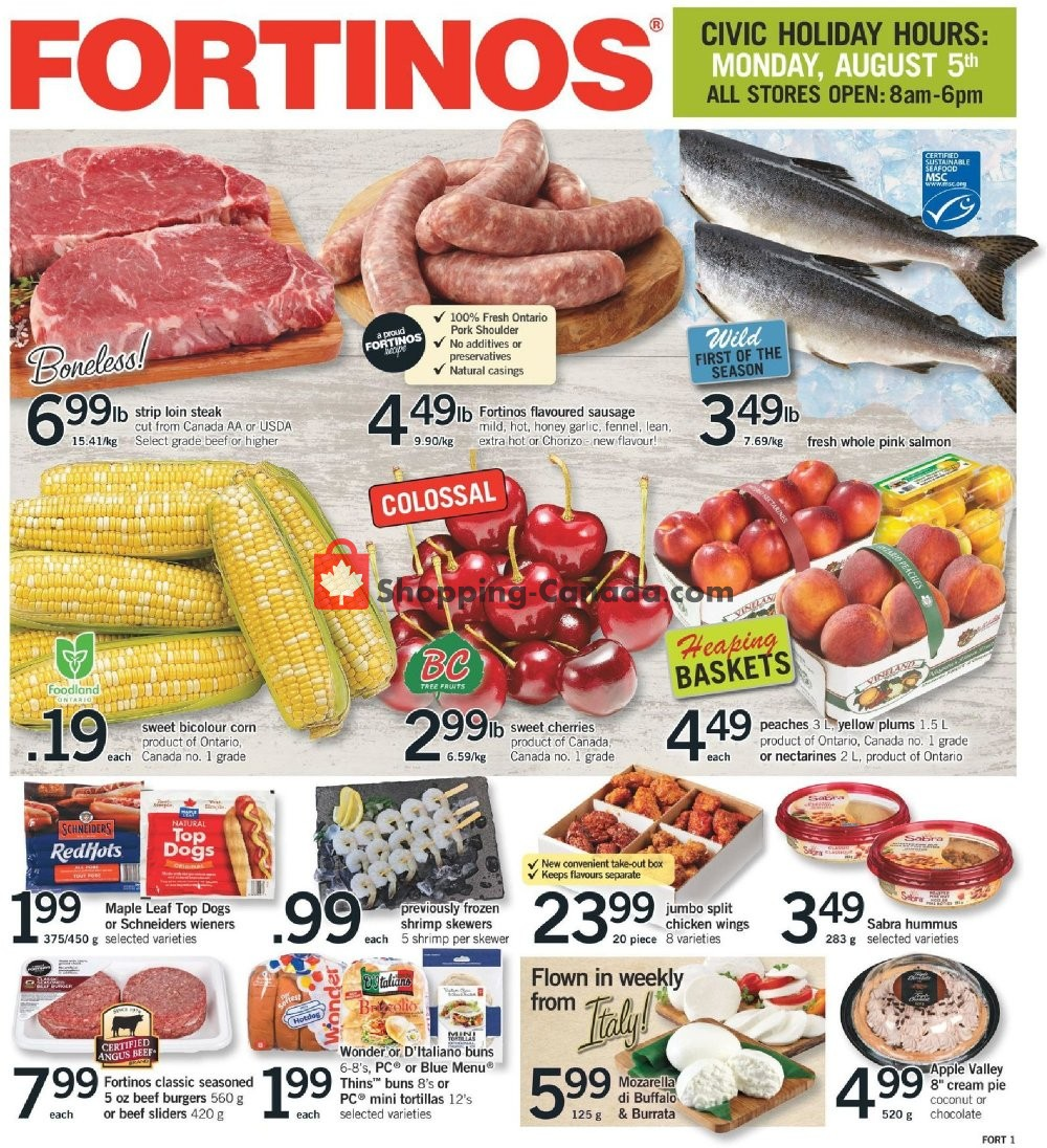 Flyer Fortinos Canada - from Thursday August 1, 2019 to Wednesday August 7, 2019