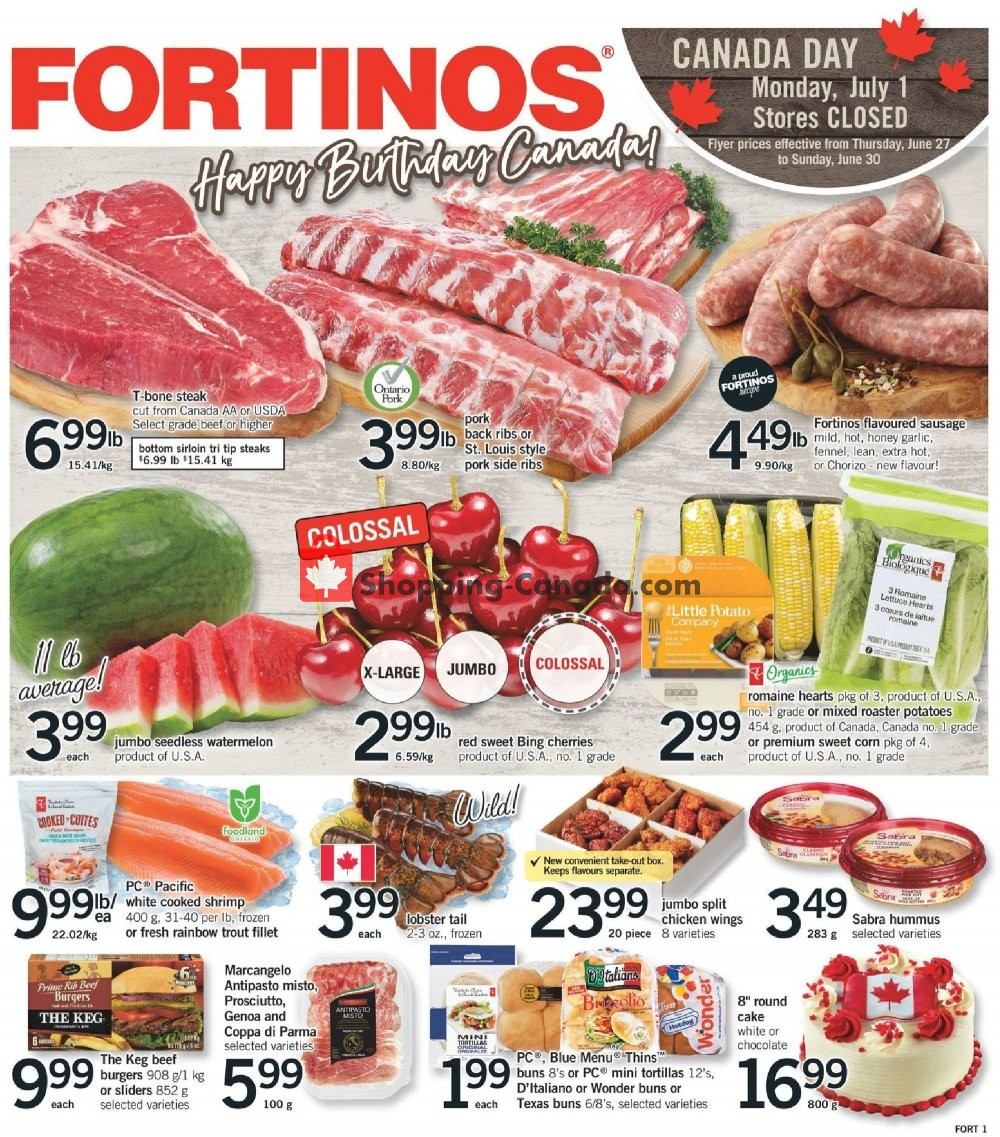 Flyer Fortinos Canada - from Thursday June 27, 2019 to Wednesday July 3, 2019