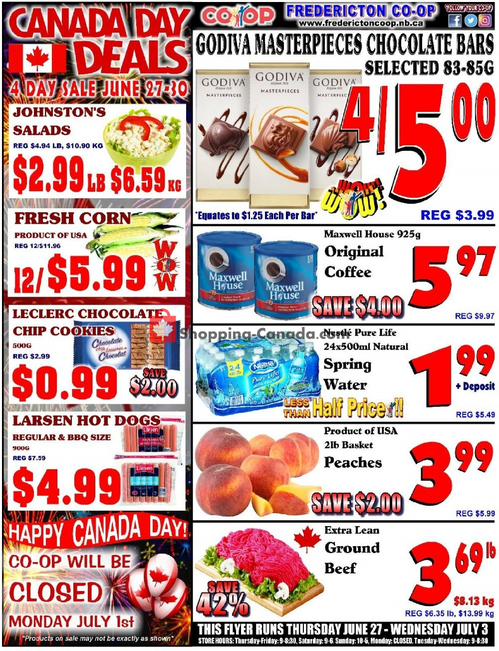 Flyer Fredericton Co-op Canada - from Thursday June 27, 2019 to Wednesday July 3, 2019