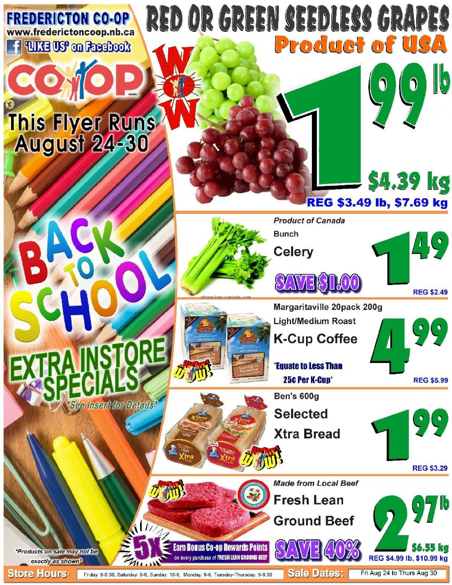 Flyer Fredericton Co-op Canada - from Friday August 24, 2018 to Thursday August 30, 2018