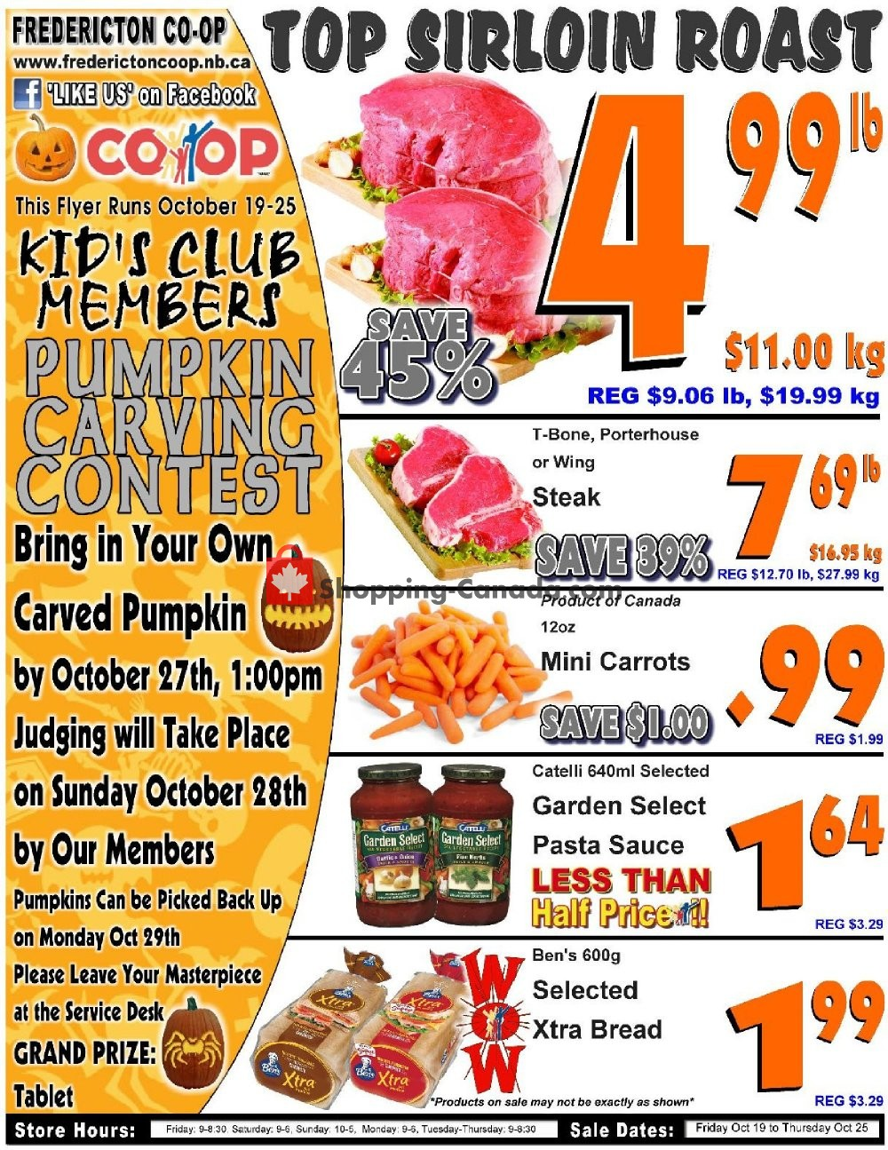 Flyer Fredericton Co-op Canada - from Friday October 19, 2018 to Thursday October 25, 2018