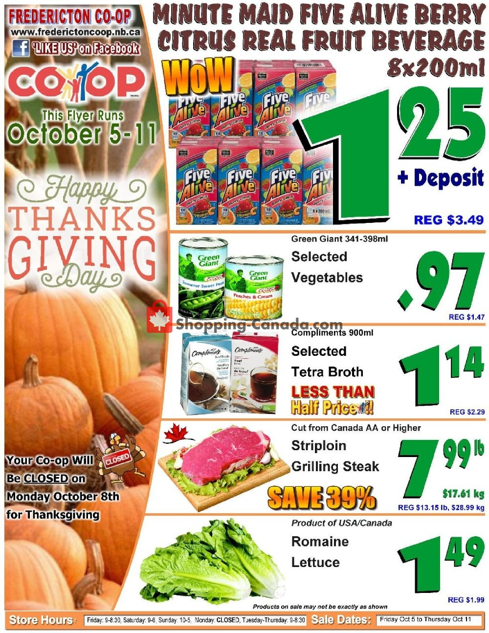 Flyer Fredericton Co-op Canada - from Friday October 5, 2018 to Thursday October 11, 2018