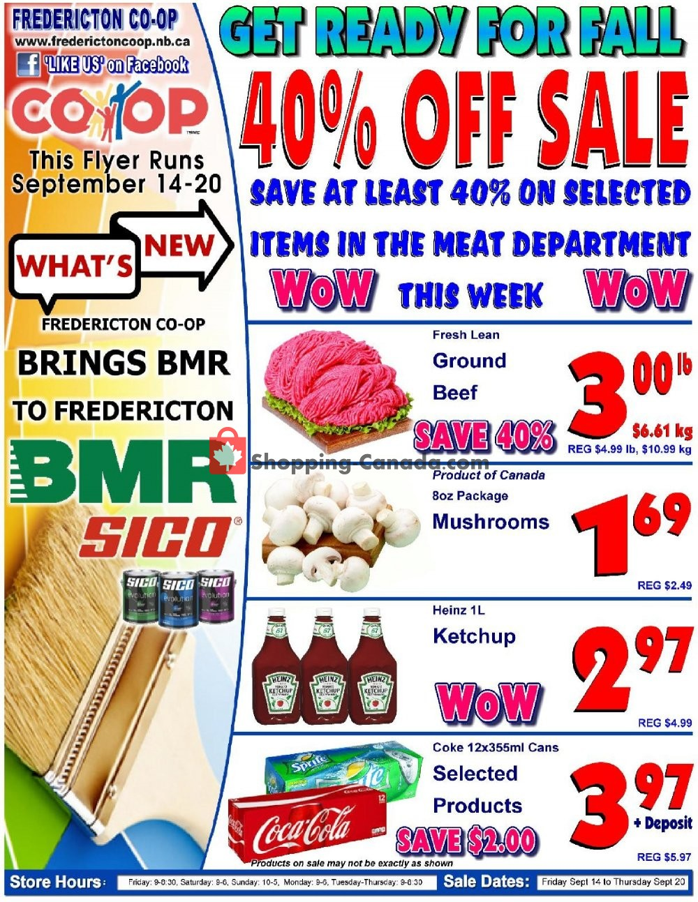 Flyer Fredericton Co-op Canada - from Friday September 14, 2018 to Thursday September 20, 2018