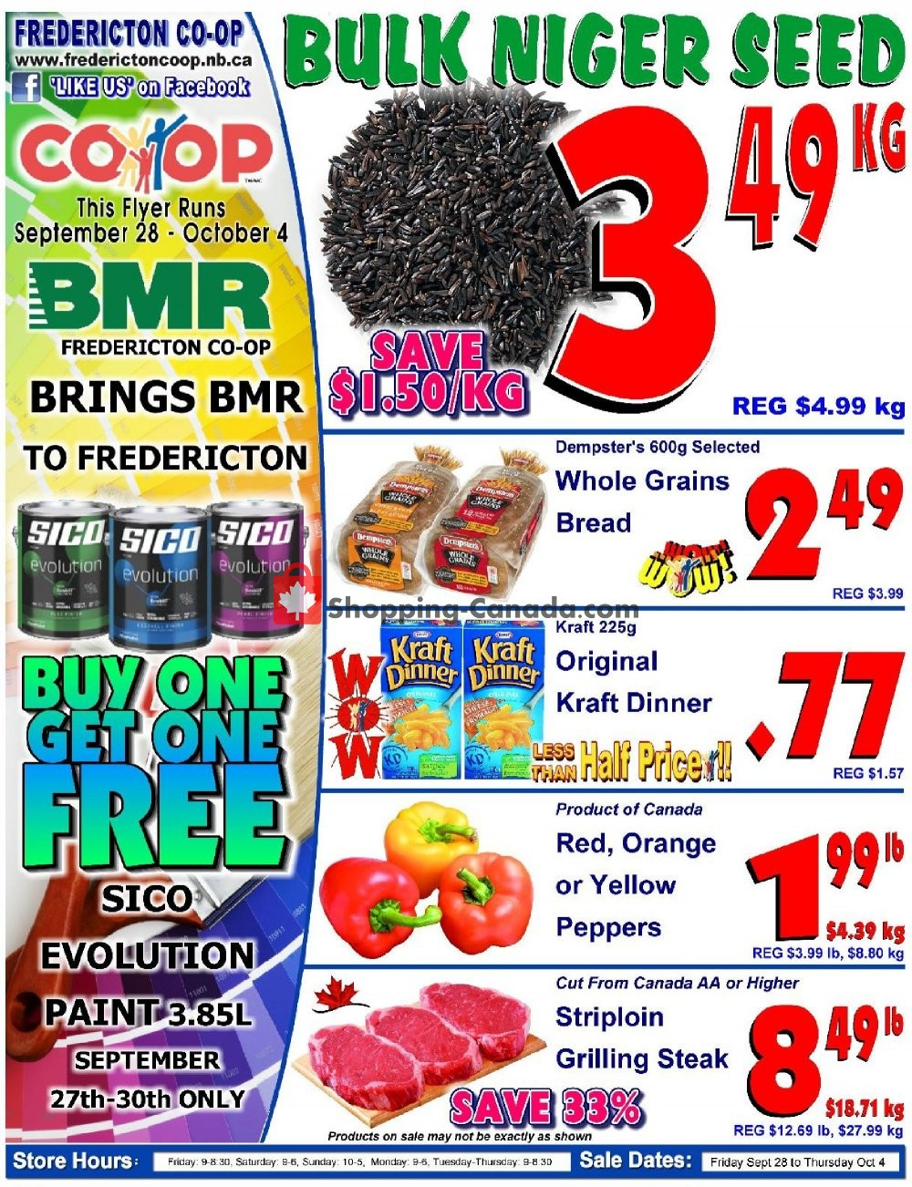 Flyer Fredericton Co-op Canada - from Friday September 28, 2018 to Thursday October 4, 2018