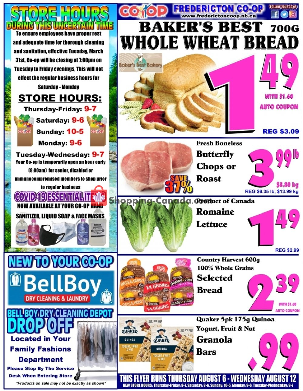 Flyer Fredericton Co-op Canada - from Thursday August 6, 2020 to Wednesday August 12, 2020