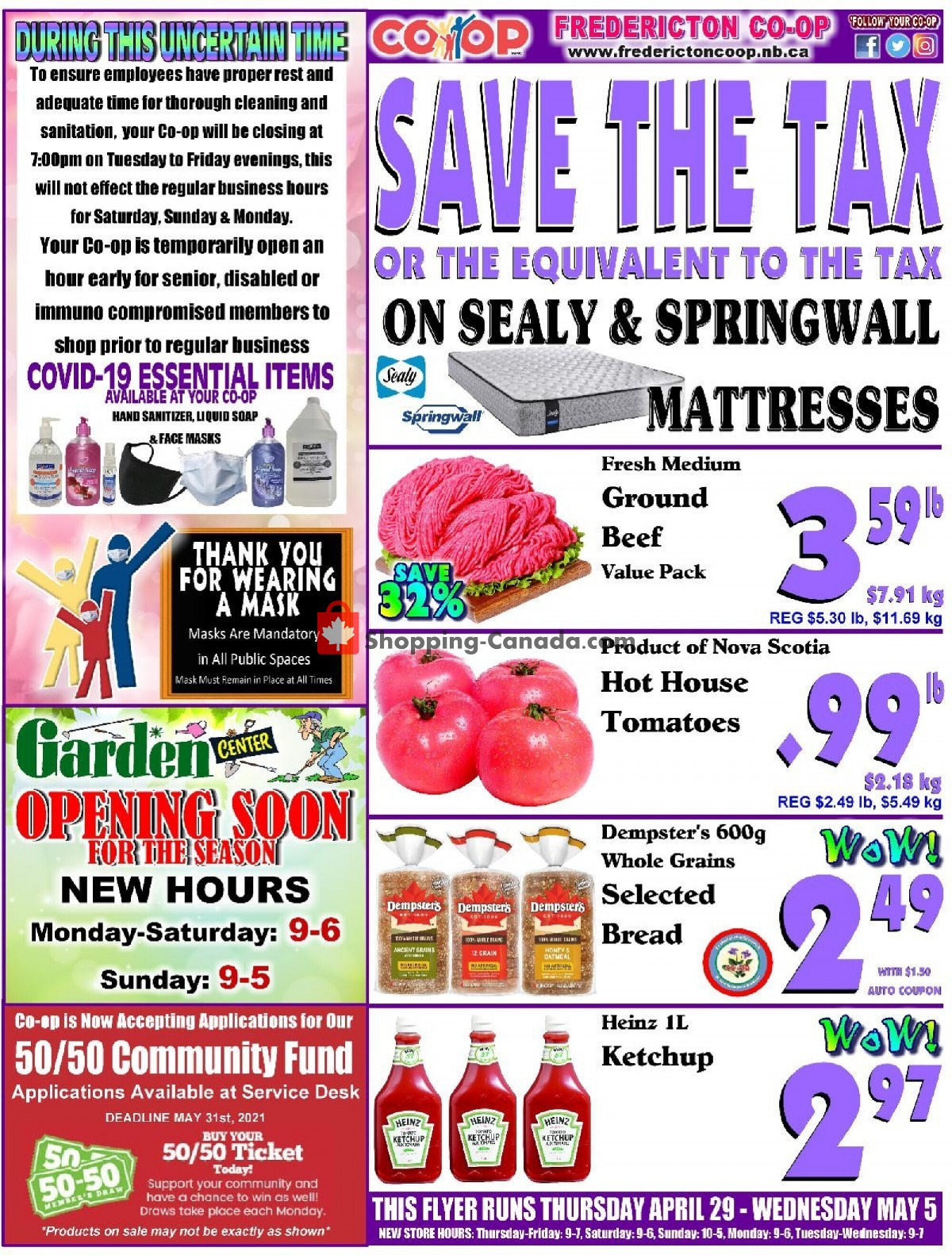 Flyer Fredericton Co-op Canada - from Thursday April 29, 2021 to Wednesday May 5, 2021