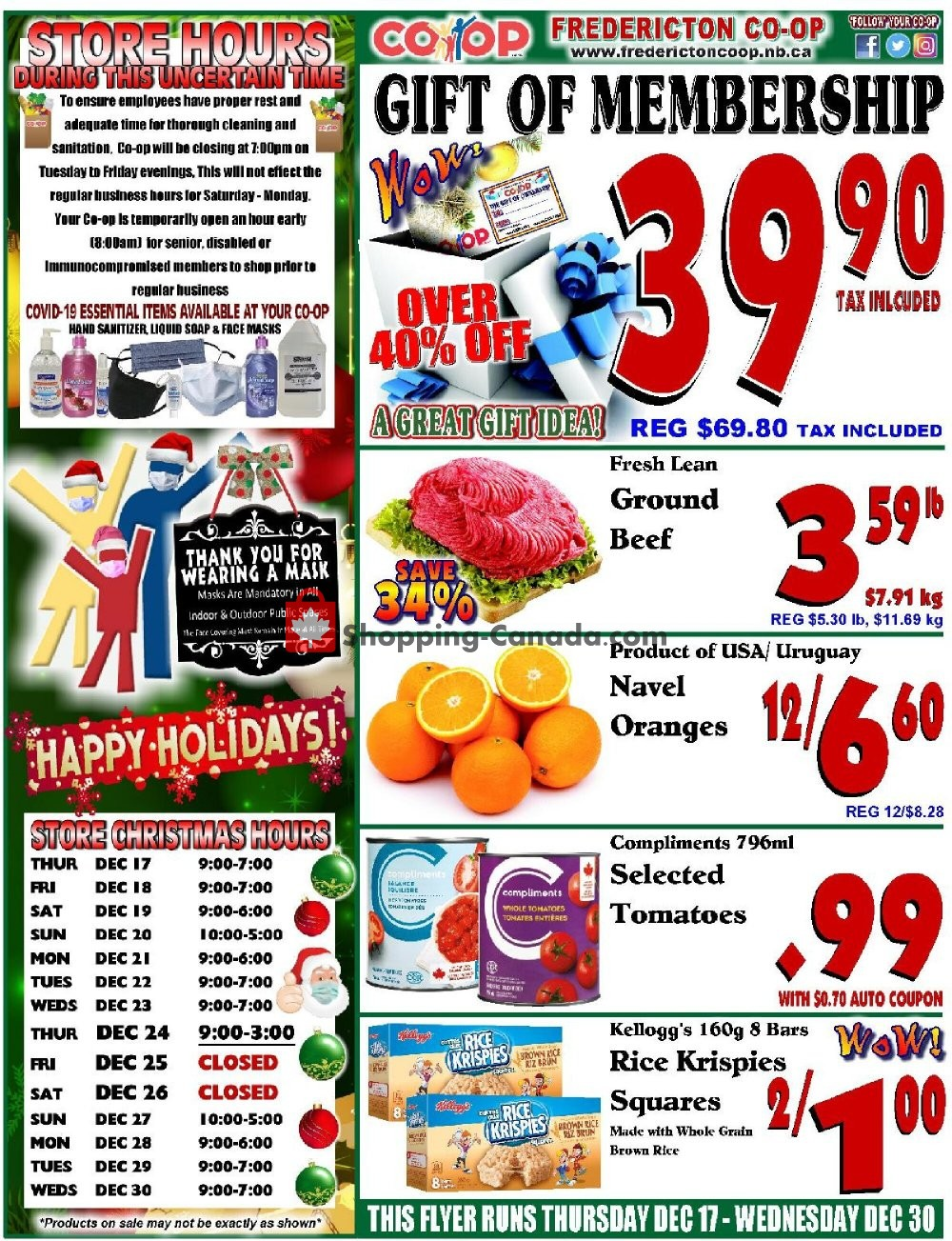 Flyer Fredericton Co-op Canada - from Thursday December 17, 2020 to Wednesday December 30, 2020
