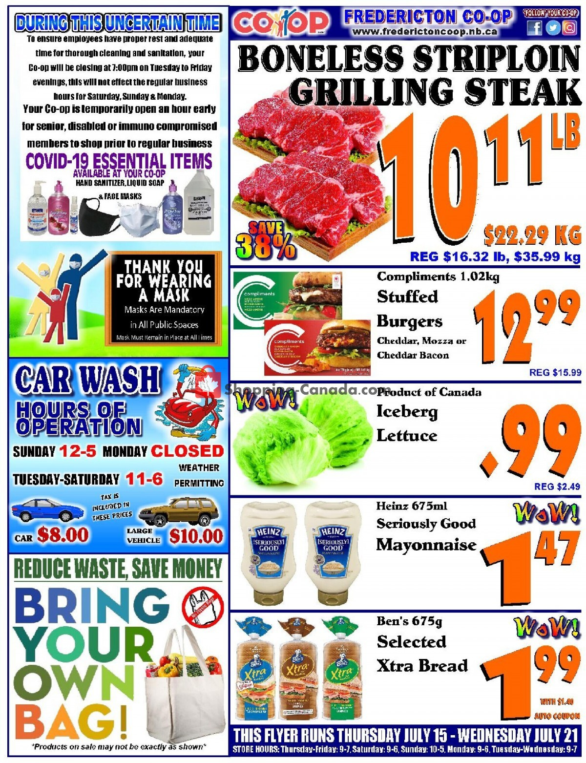 Flyer Fredericton Co-op Canada - from Thursday July 15, 2021 to Wednesday July 21, 2021