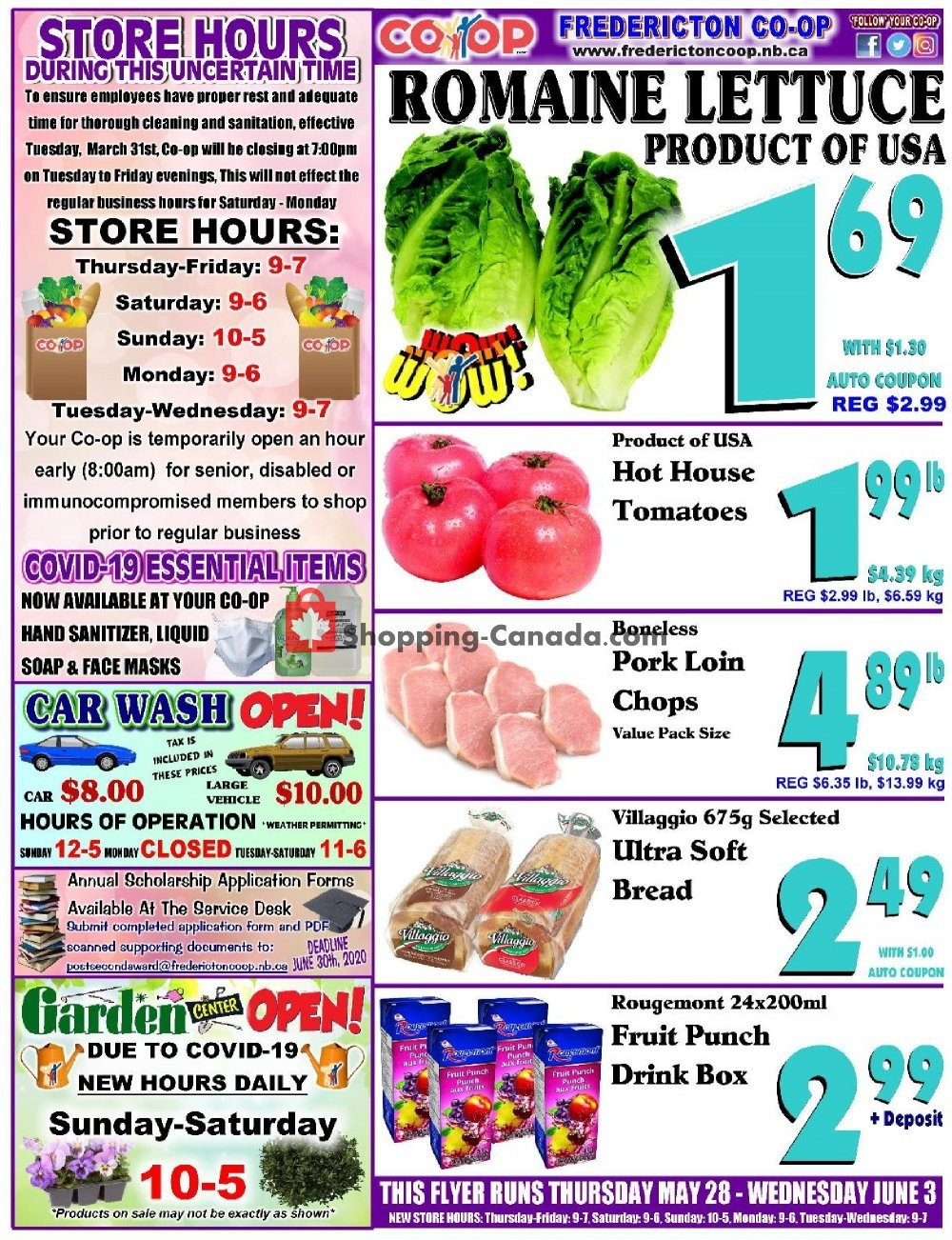 Flyer Fredericton Co-op Canada - from Thursday May 28, 2020 to Wednesday June 3, 2020